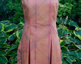 SALE! 50% OFF Cotton Sun Dress Shibori Dyed in Adobe and Indigo with Natural Dyes