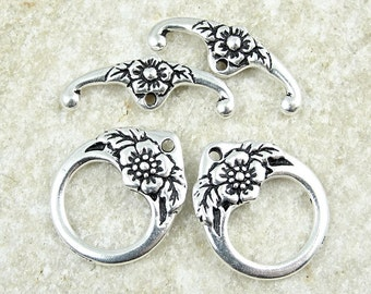TierraCast FLORAL CLASP Set - Antique Silver Toggle Clasp Findings - Flower Toggle Findings - Large Toggles (PF2012)
