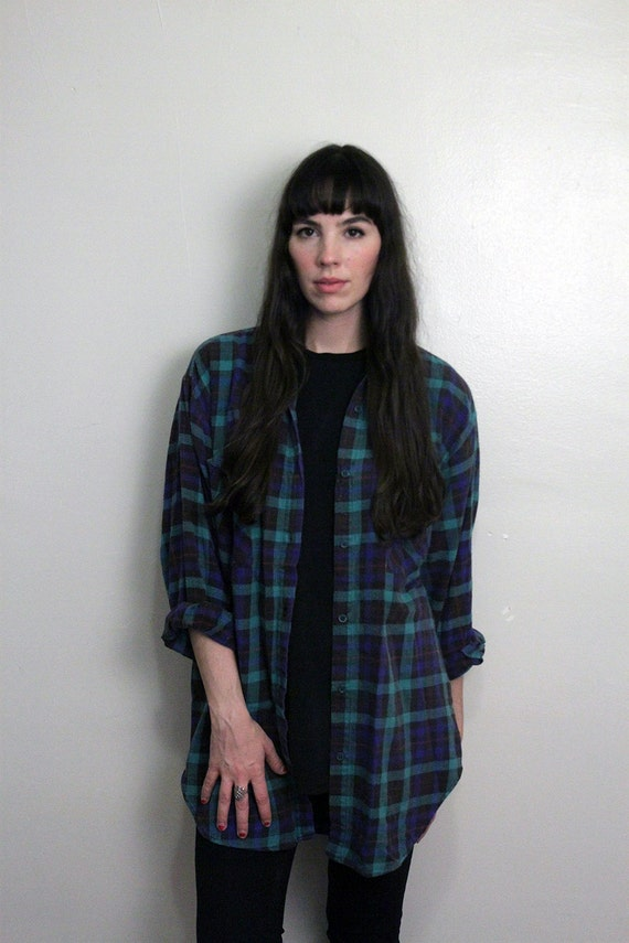 1990s Plaid Boyfriend Flannel Size M-L