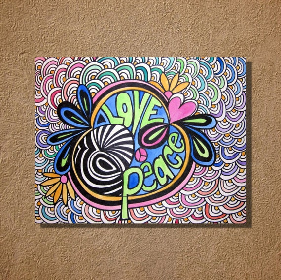 Rainbow Peace Love Original Watercolor and Ink Painting 9x12
