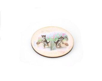 Cat Brooch, Wooden Kitten Brooch, Cat Illustration, Animal Brooch, Wood Jewelry