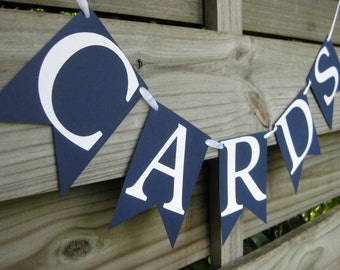 Cards Banner in Navy Blue and White - Nautical Wedding Card Box Sign