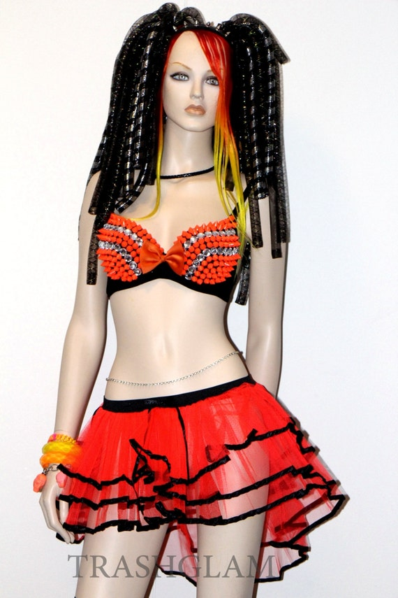 FULL RAVE OUTFIT Neon yellow orange pink spike by HausofTrashglam