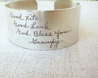 Personalized Silver Cuff Bracelet with ACTUAL Handwriting - Personalized Bracelet - Memorial Jewelry - Personalized Gift