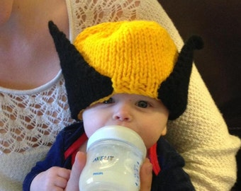 Ready to Ship 12-13 inch tiny Xsmall Wolverine Knit hat- tiny newborn perfect for photo props