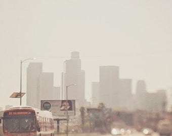 downtown Los Angeles photograph, LA skyline, DTLA photo, metro bus, urban decor,  gray orange, loft wall art, buildings, cityscape