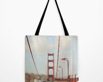 San Francisco tote bag, Golden Gate Bridge photo, red, California tote bag, market bag baby bag, book modern accessory, grocery shopping bag