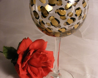 21 30 40 50 60th birthday girl wine glass with leopard print on large 18oz wine glass
