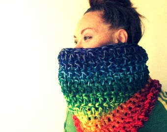 Rainbow Cowl Scarf.  Super Chunky Bright Colorful Extra Thick. One of a kind. Ready to Ship