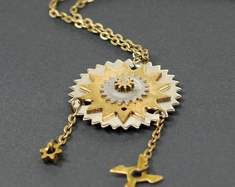 Steampunk Jewelry- Brass & Silver Upcycled Clock Gear Necklace, Steampunk Necklace