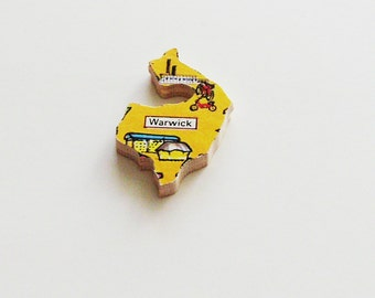 Warwick England Brooch - Lapel Pin / Upcycled 1960s Wood Puzzle Piece / Unique Wearable History Gift Idea / Timeless Gift Under 20