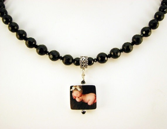Faceted Black Onyx Set - Necklace with Photo Charm, Bracelet and Earrings - P3fSet