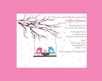 Bird Baby Shower Invitation Cherry blossom Shower Invites Printed Invitations (set of 10)
