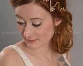 Gold Rhinestone Headband, Champagne Bridal Headpiece, Wedding Hair Piece, Gold or Silver - Aspen