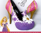 RAPUNZEL | TANGLED | DISNEY Princess | Glitter, Crystal Rhinestones, and Pearls | Design for Heels | Great For Cosplay