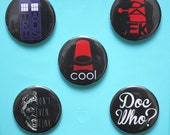Doctor Who BUTTON set - pinback button pack - sci-fi buttons - Tardis - Dalek - Weeping Angels