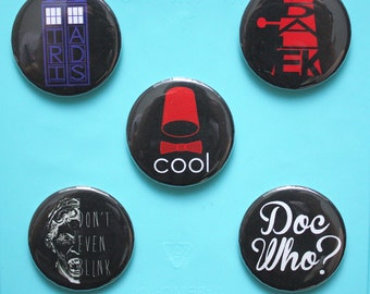 Doctor Who BUTTON set - pinback button pack - sci-fi buttons - Tardis - Dalek - Weeping Angels Doctor Who gift Doctor Who present