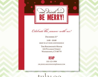 Eat Drink and Be Merry Holiday Dotty Party Invitation