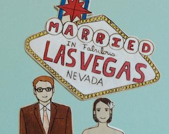 Custom Wedding Cake Topper Couple with Vegas Sign