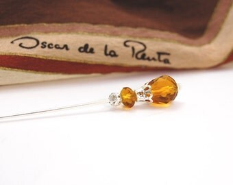 Hatpin amber faceted crystal glass silver plate pin