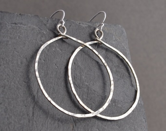 Handmade hammered large sterling hoop earrings
