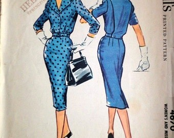 Vintage 50's McCall's 4670 Misses' Dress Sewing Pattern, Size 12, 32 Bust