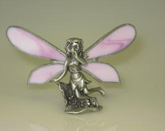 Stained Glass Fairy Figurine with Pink Wings - Made to Order (FAI006)