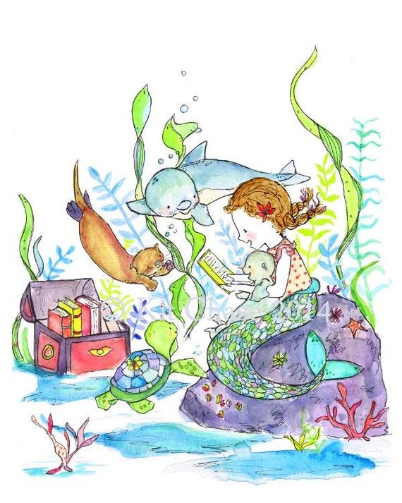 The Mermaid Book Club -- Archival Print -- Children's Art