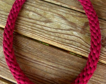 Burgundy Cotton Necklace. Burgundy Tshirt Yarn Necklace. Dark red Cotton Necklace. Maroon Statement Necklace. Burgundy Statement Necklace.
