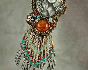 Necklace, Horse, beaded, Amber and Turquoise Bead Embroidered Necklace, pewter, one-of-a-kind, western, turquoise, horse