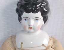 Antique China Head Doll Low Brow with Homemade Body Germany 20 Inches