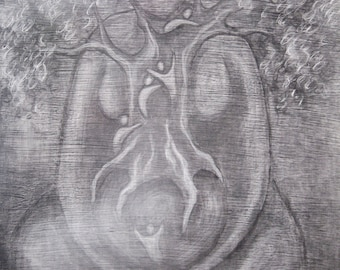 PRINT Climbing the Tree of Life, goddess art, tree goddess, spiritual tree art, zen painting, nature spirituality art print