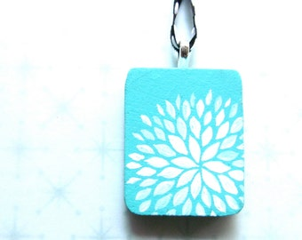 Handpainted Pendant - Petal Burst in Turquoise and White