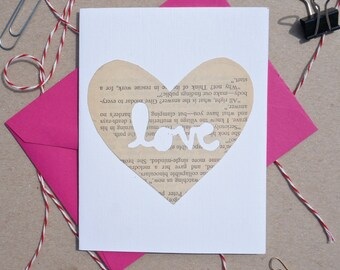 "Cut-out ""Love"" Heart Card, Hand-cut Cards on Vintage Paper, Valentine's Day Cards, Love, Paper Hearts"