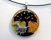 Zebra Necklace | Fused Glass Pendant | Tree of Life | Wild Animal Art | Sterling Silver Plated | African Sunset | Africa Inspired | Totem