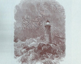 Nautical Print - Lighthouse Engraving - Vintage Boat Print - Sepia Lighthouse Book Print - Go Down To The Sea - 1970s