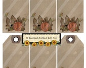 Primitive 1334 Pumpkin Tags Printable Digital Collage Sheet