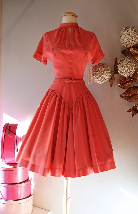 1950s Dress Vintage 50s Coral Cotton Party Dress With