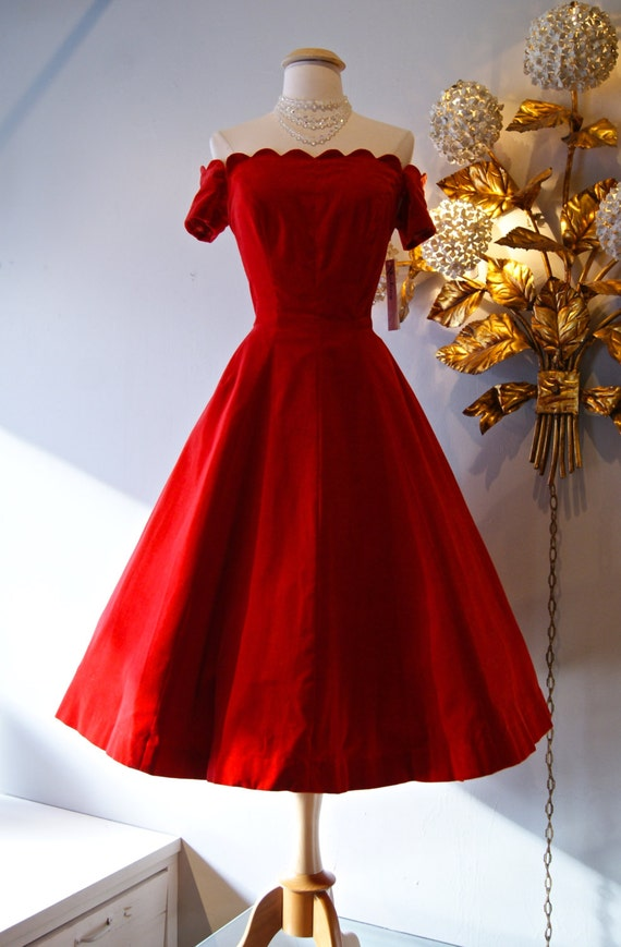 1950 s dress vintage 50 s red velvet off the shoulder party dress