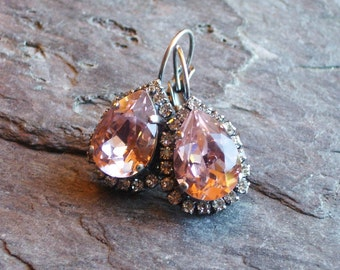 Pink Swarovski earrings, rose and diamond crystal earrings, bridal earrings, estate style earrings, holiday gift ideas, gift ideas for mom