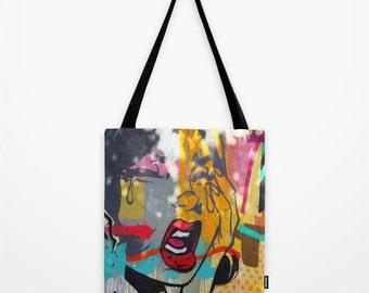 Tote Bag, STREET ART, Graffiti bag, Pop Art - Colorful, Book Bag, Small, Medium, & Large Sizes, Miami, New York, Los Angeles