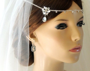 Silver Wedding Bridal Tiara, Kim Kardashian inspired headpiece, Rhinestone Crystal Forehead Bridal Hair Accessories