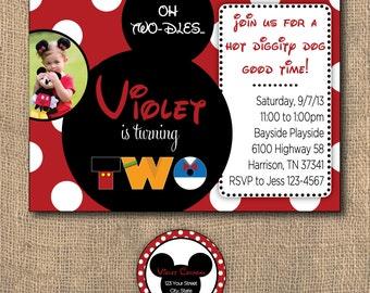 PRINTABLE 5x7 Mickey + Friends Birthday Invitation & Return Address Labels