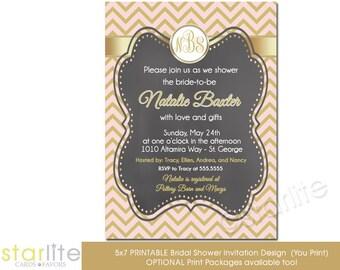 Pink and Gold Chevron Monogram Bridal Shower Invitation, Chalkboard Pink + Gold Bridal Shower Invitation, Printable Invitation, Printed