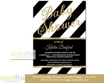 Black and White Stripes Baby Shower Invitation, Black + Gold Glitter Baby Shower Invitation, Printable Baby Shower Invitation, Printed