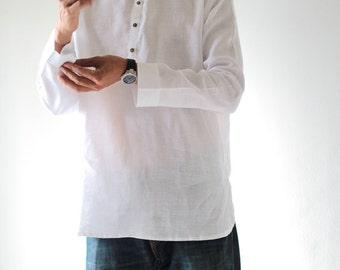 100% Linen waist length men's shirt with buttons (B 5706)