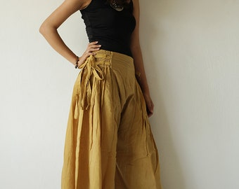Wide Pants cotton mixed with silk in 2 sizes / boho /hippy/ long pants/ wide leg /bloomers(244)