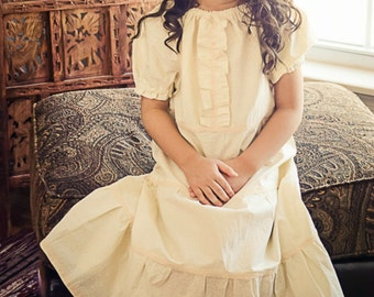 Maxi Peasant Dress, Ivory Dress, Spring, flower girl, bohemian dress, infant dress, toddler dress, sizes newborn through 6X