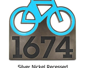 """Bicycle Addres Sign with painted bike, Biking Address Numbers, Bike Address Plaque 12"""" x 12"""""""