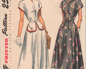 1940s Simplicity 2502 Misses Flared Skirt DRESS Pattern Frock Pattern Womens Vintage Sewing Pattern Size 16 Bust 34